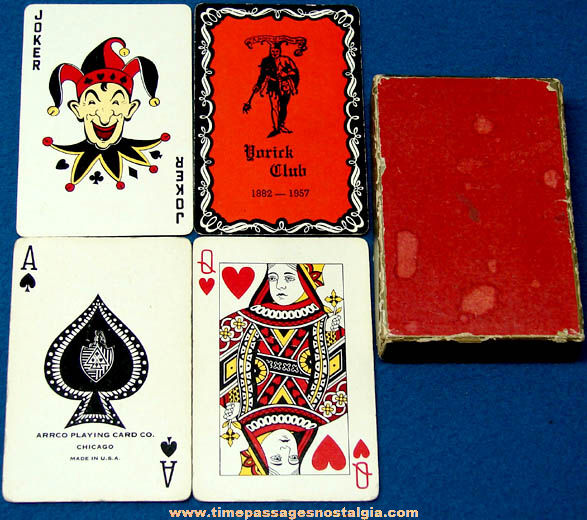 Boxed 1957 Yorick Club 75th Anniversary Advertising Playing Card Deck