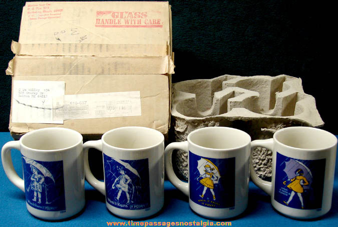 Boxed 1970s Set of (4) Different Unused Morton Salt Advertising Character Coffee Cups With Mailer Box