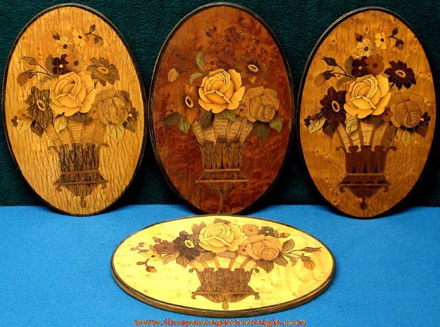 (4) Old Detailed Inlaid Wood Flower Oval Wall Hanging Plaques