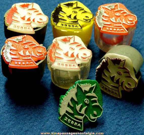 (7) Old Gum Ball Machine Prize Toy Rings With Zebras