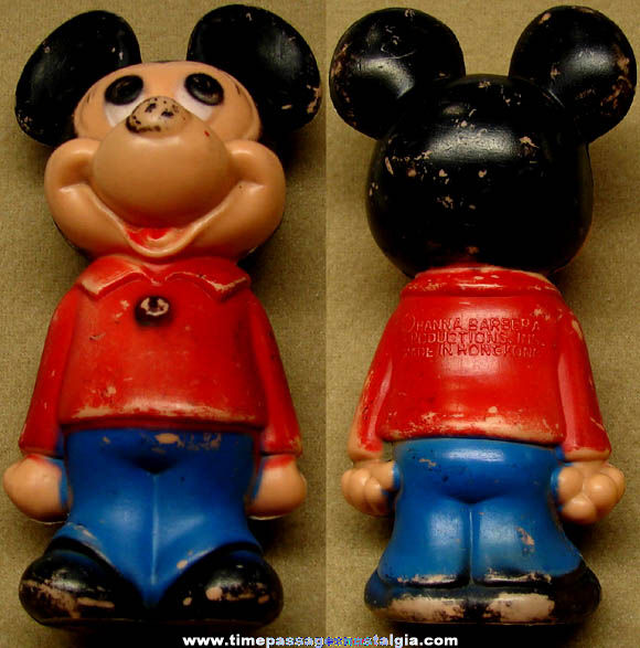 Old Walt Disney Mickey Mouse Character Painted Plastic Error Figurine