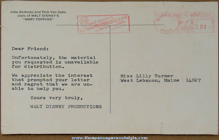 ©1964 Large Colorful Walt Disney Productions Mailed Mary Poppins Advertising Post Card