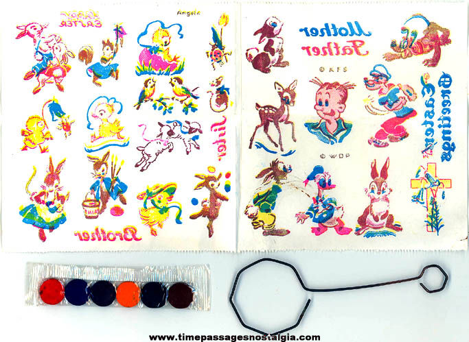 Unused ©1940 PAAS Easter Egg Coloring Kit with Walt Disney Cartoon & Comic Characters