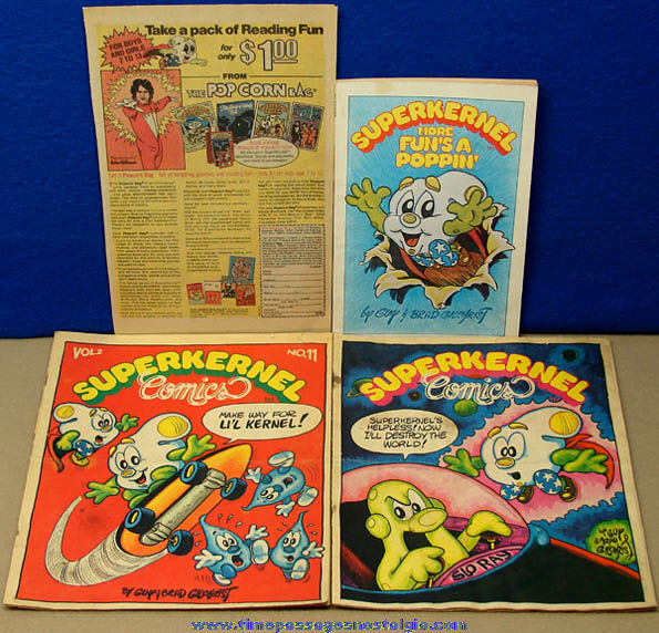 (4) Different ©1978 - ©1980 Superkernel Pop Corn Character Comic Book Items