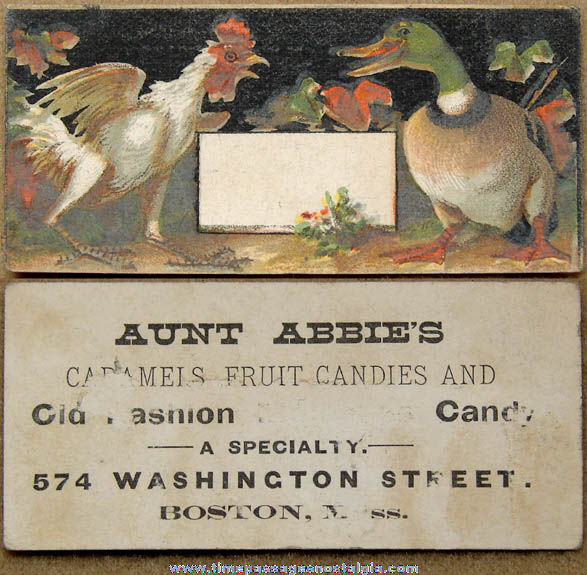 Small Old Aunt Abbie's Boston Candy Store Advertising Trade Card