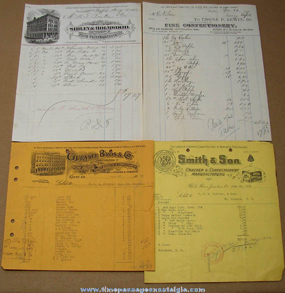 (13) Different 1882 - 1922 Candy or Confectionery Company Advertising Invoices