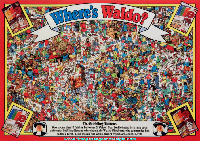 ©1991 Quaker Oats Company Life Cereal Premium Where's Waldo Character Placemat