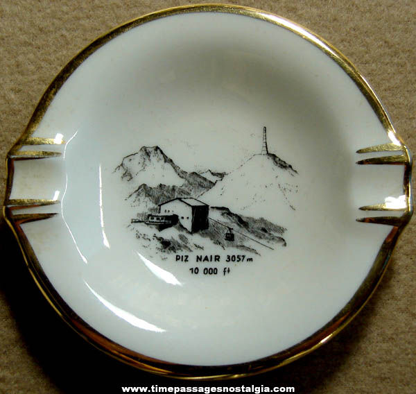 Old Porcelain Piz Nair Swiss Mountain Advertising Souvenir Cigarette Ashtray
