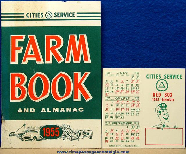 1955 Cities Service Gas Station Advertising Premium Farm Almanac Book & Boston Red Sox Baseball Schedule
