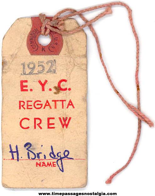 1952 Edgartown Yacht Club Regatta Crew Advertising Name Tag
