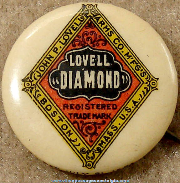 1896 Lovell Diamond Bicycle Advertising Celluloid Pin Back Button