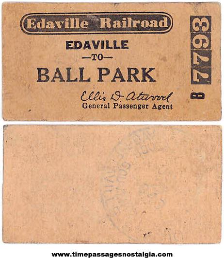 1949 Edaville Railroad Advertising Edaville To Ball Park Train Ticket