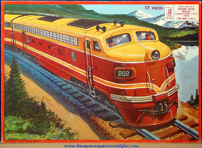 Colorful ©1958 Milton Bradley Company Diesel Train Frame Tray Puzzle