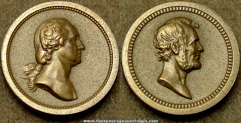 Old United States Presidents George Washington and Abraham Lincoln Medal Token Coin