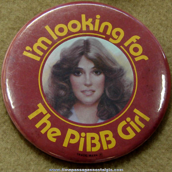 Large 1980 Mr. Pibb Soda Pibb Girl Advertising Promotional Contest Pin Back Button