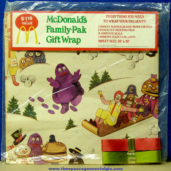 Unopened ©1979 McDonald's Advertising Character Family Gift Wrapping Kit