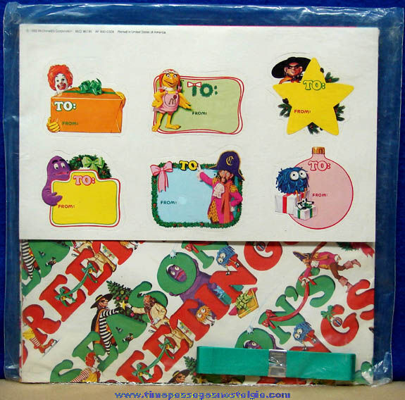 Unopened ©1980 McDonald's Advertising Character Gift Wrapping Kit