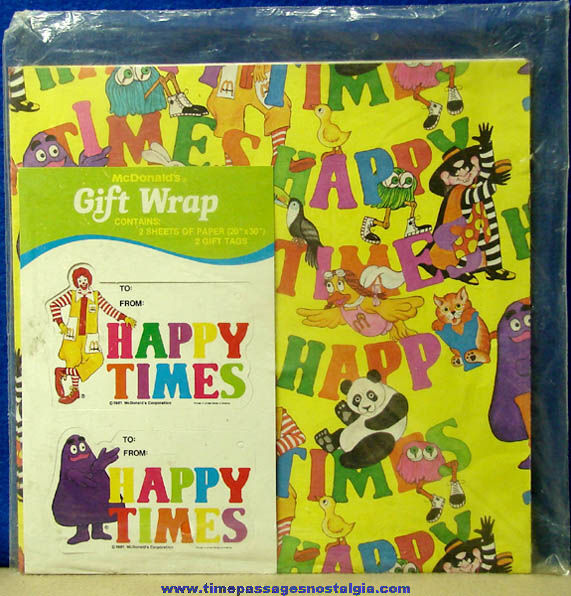 Unopened ©1981 McDonald's Advertising Character Happy Times Gift Wrapping Kit