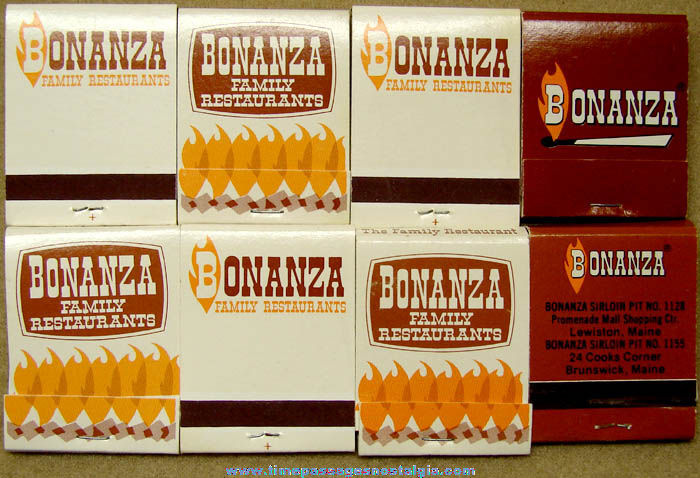 (8) Old Unused Bonanza Restaurant Advertising Match Books