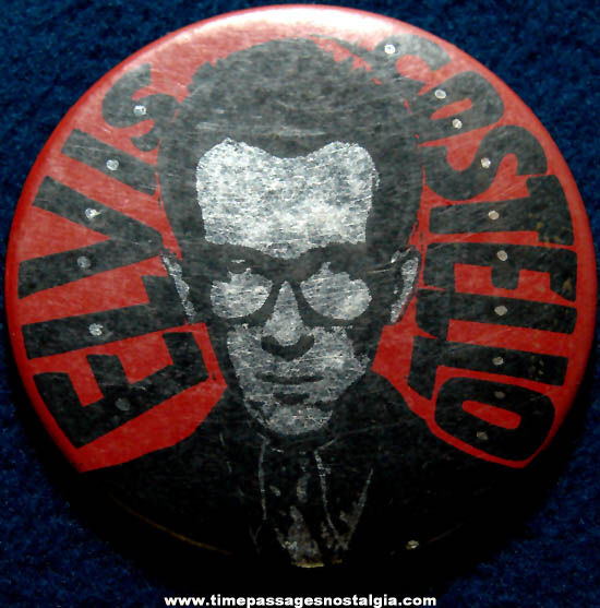 Large Old Elvis Costello Music Advertising Pin Back Button