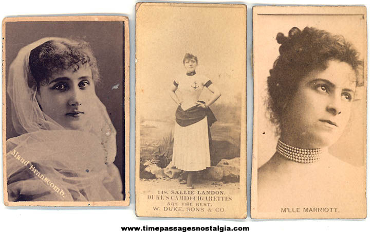 (3) 1800s Cigarette Premium Pretty Lady Actress Trading Cards
