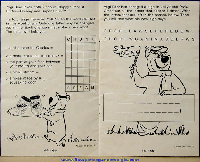 Unused ©1986 Skippy Peanut Butter Advertising Premium Yogi Bear Cartoon Character Activity Book