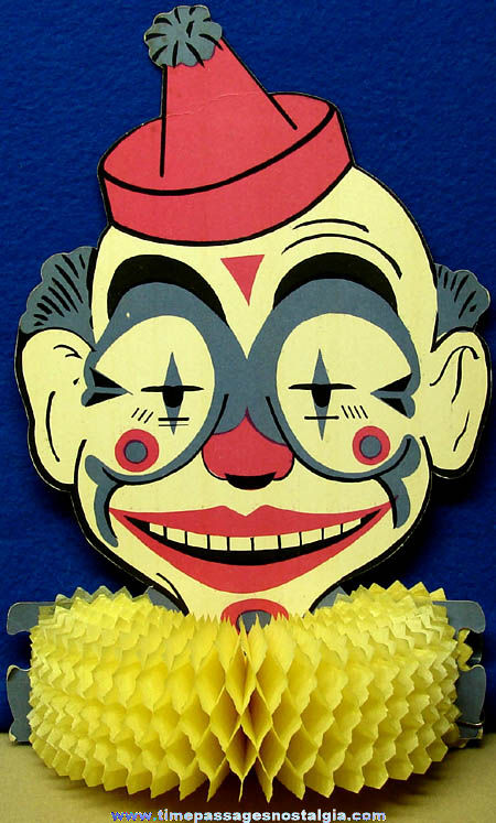 Colorful Old Two Sided Circus Clown Head Decoration With Honeycomb Collar