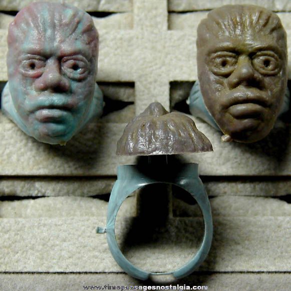 (3) 1960s Monster Character Head Gum Ball Machine Prize Toy Rings