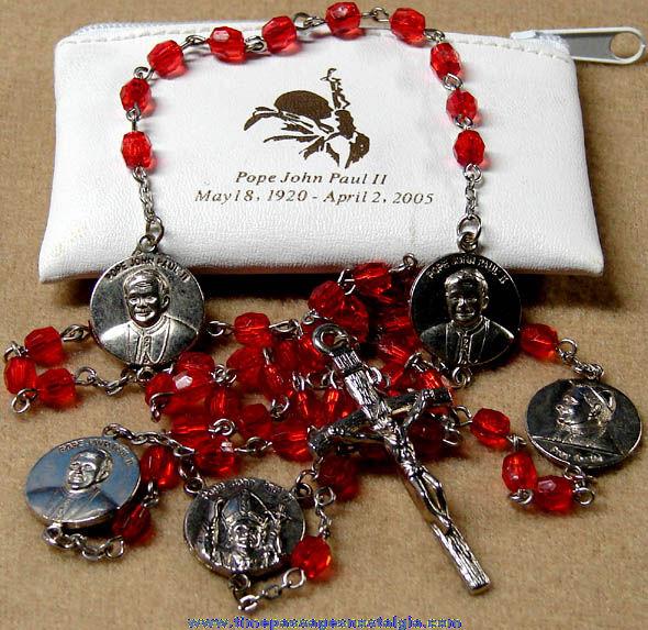 Catholic Pope John Paul II Memorial Rosary Beads With Case