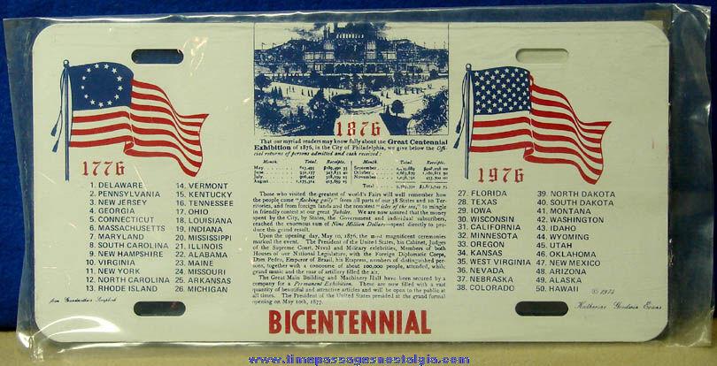 Unopened ©1974 American Centennial & Bicentennial Commemorative License Plate