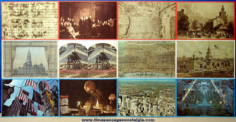 (12) Different Unused & Attached ©1976 American Bicentennial 1776 - 1976 Post Cards