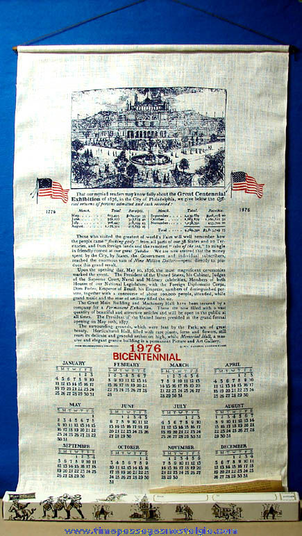 Large Unused & Boxed ©1974 American Bicentennial 1776 - 1976 Printed Linen Cloth Calendar