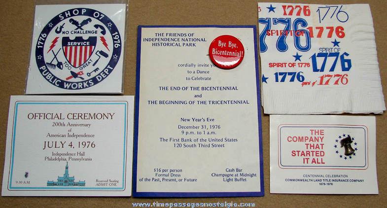 (7) Different Small American Bicentennial 1776 - 1976 Advertising Souvenir Items