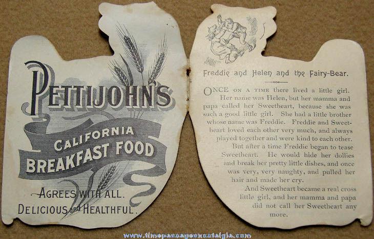 Early Pettijohn's California Breakfast Food Advertising Premium Die Cut Bear Booklet