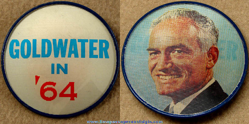 1964 Barry Goldwater United States Presidential Political Campaign Flicker Pin Back Button