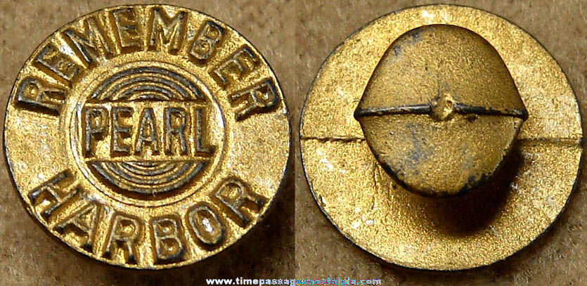 Old Remember Pearl Harbor World War II Stud Lapel Button
