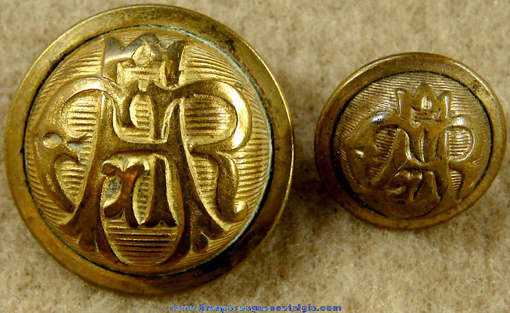 (2) Old Grand Army of The Republic GAR Brass Uniform Buttons