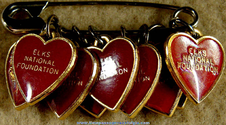 (9) Painted Metal Elks National Foundation Advertising Heart Charms