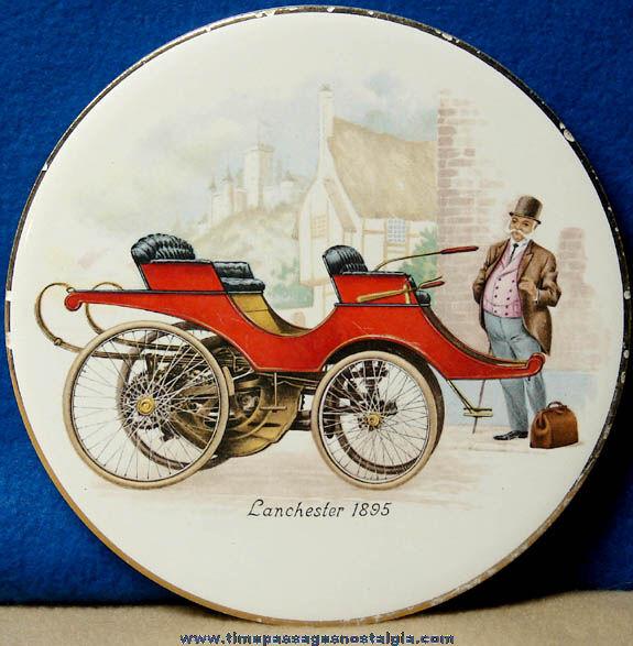 Colorful Old Lanchester 1895 Automobile Porcelain Trivet