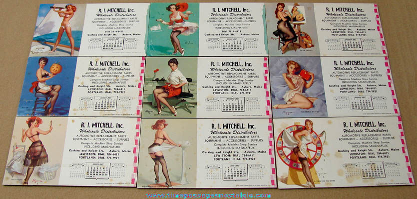 (9) Different 1960s Risque Pretty Lady Advertising Premium Calendar Ink Blotters