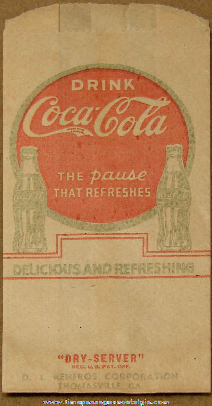 Early Unused Coca Cola Advertising Paper Bottle Sleeve or Bag