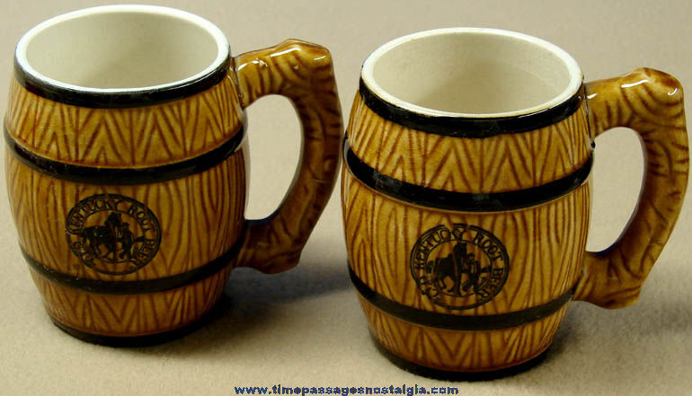 (2) Old Matching Old Kentucky Root Beer Advertising Ceramic Barrel Drink Mugs
