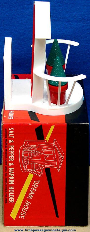 Colorful Old Unused & Boxed Dream House Salt & Pepper Shaker and Napkin Holder Set