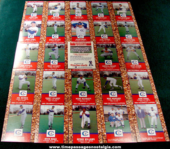 Set of (25) 1989 Columbus Clippers Cracker Jack Baseball Cards