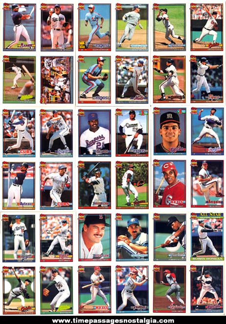 Set of (36) 1991 Topps Series II Miniature Cracker Jack Prize Baseball Cards