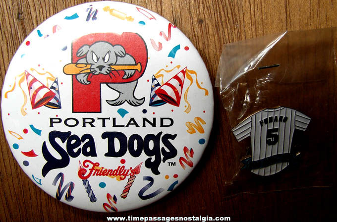 (2) 1998 Friendly's Restaurant Portland Sea Dogs Baseball Advertising Premium Pins