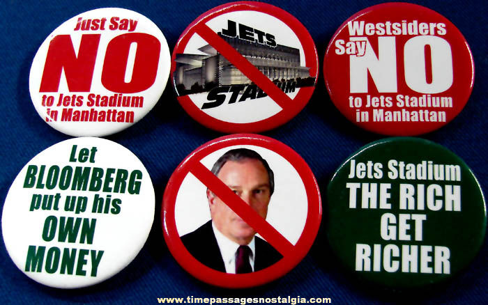 (6) Different Unused New York Jets Football Stadium Protest Pin Back Buttons