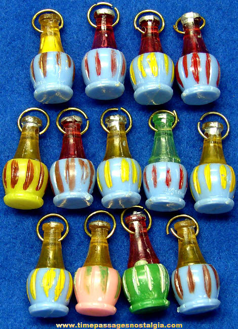 (13) Old Gum Ball Machine Prize Wine Bottle Toy Charms