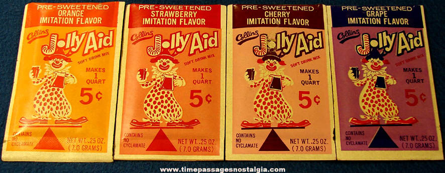 (4) Different Old Unused Jolly Aid Soft Drink Advertising Beverage Packets