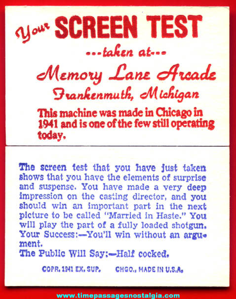 (50) ©1941 Screen Test Exhibit Supply Arcade Fortune Cards